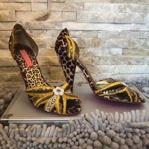 Betsey Johnson Animal Print Beaded Heels 8